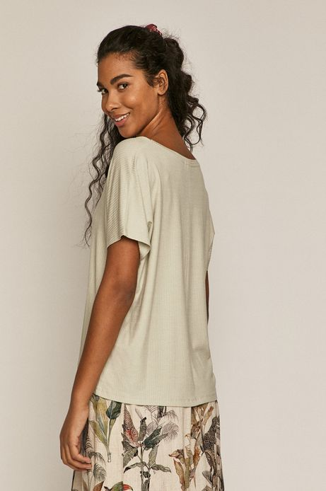 T-shirt damski oversize z prążkowanej dzianiny turkusowy