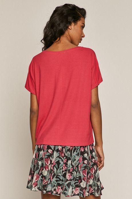 T-shirt damski oversize z prążkowanej dzianiny różowy