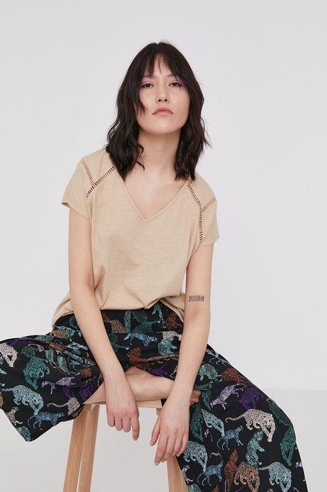 T-shirt damski z bawełny organicznej z dekoltem V beżowy