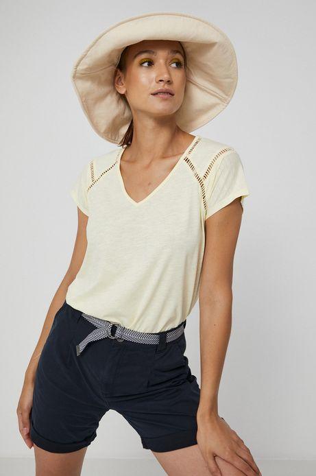 T-shirt damski z dekoltem V kremowy