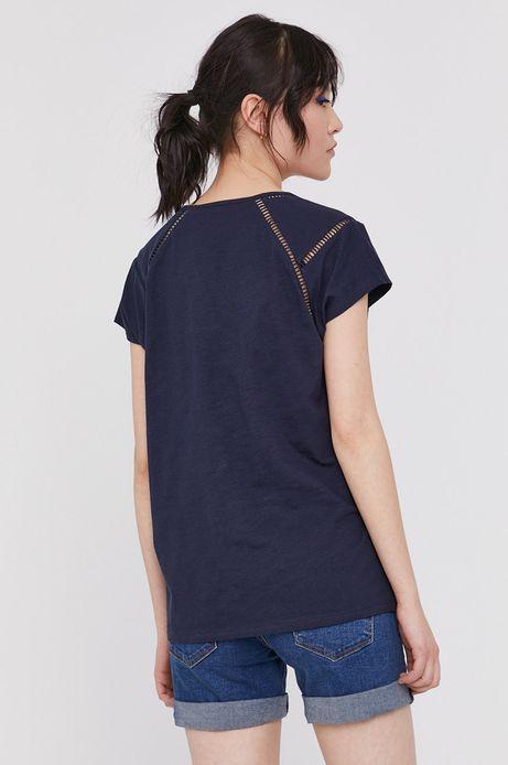 T-shirt damski z bawełny organicznej granatowy