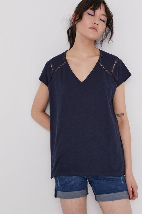 T-shirt damski z bawełny organicznej z dekoltem V granatowy