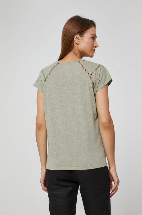 T-shirt damski z dekoltem V zielony