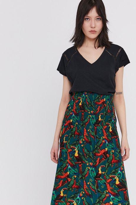 T-shirt damski z bawełny organicznej z dekoltem V czarny