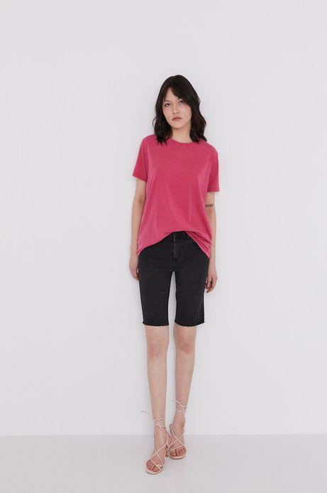 Bawełniany t-shirt damski z efektem acid wash różowy