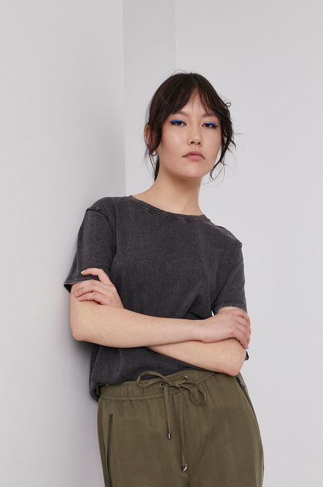 Bawełniany t-shirt damski z efektem acid wash szary