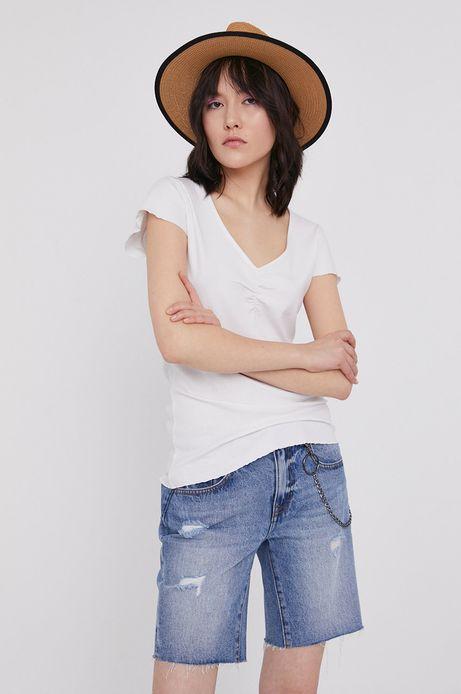 T-shirt damski z prążkowanej dzianiny biały