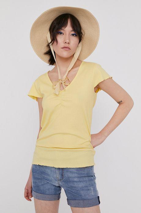 T-shirt damski z prążkowanej dzianiny żółty