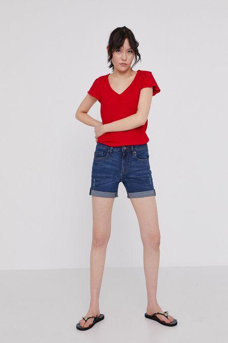 T-shirt damski z prążkowanej dzianiny czerwony