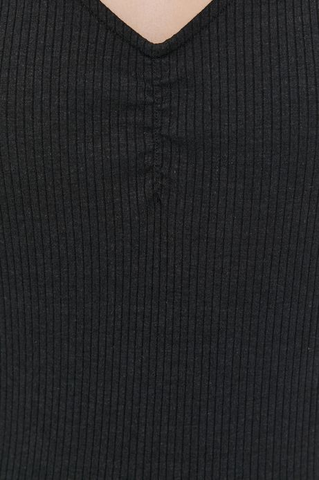 T-shirt damski z prążkowanej dzianiny czarny