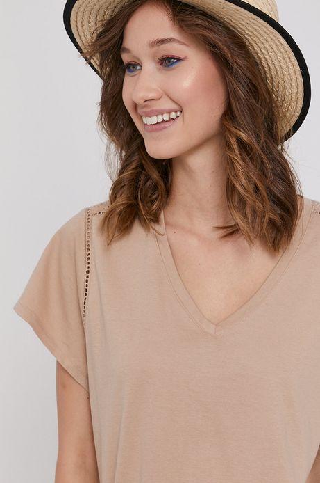 T-shirt damski z bawełny organicznej beżowy