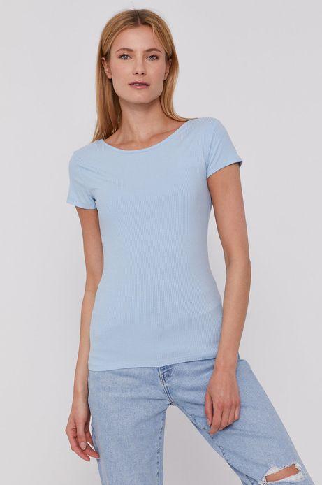 T-shirt damski w prążki niebieski