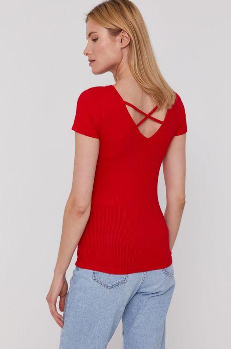 T-shirt damski w prążki czerwony