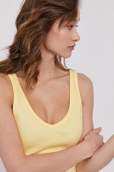Top damski z bawełny organicznej żółty