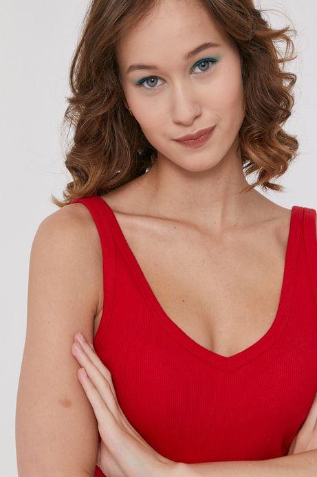 Top damski z bawełny organicznej czerwony