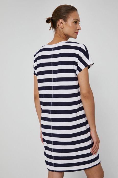 Długi t-shirt damski z dekoltem V w paski