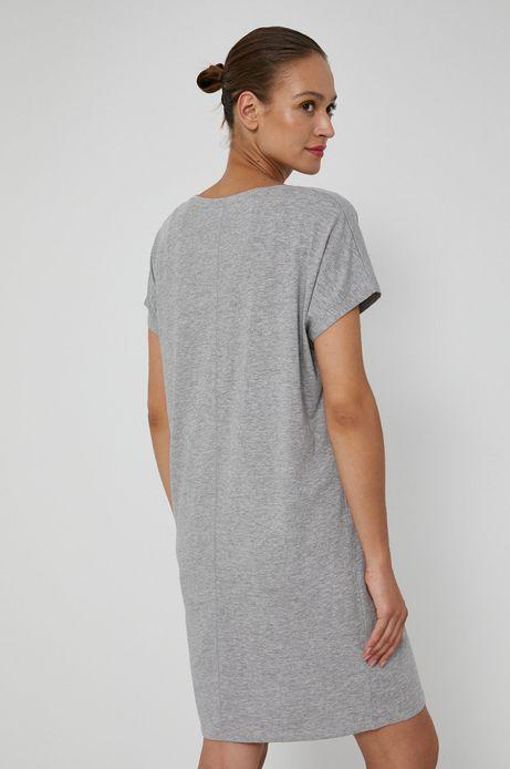 Długi t-shirt damski z dekoltem V szary