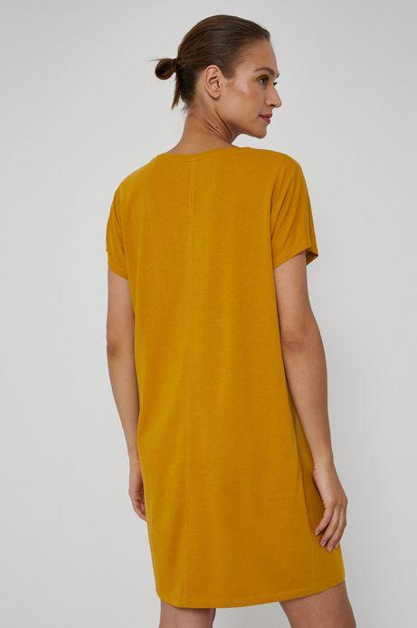 Długi t-shirt damski z dekoltem V żółty