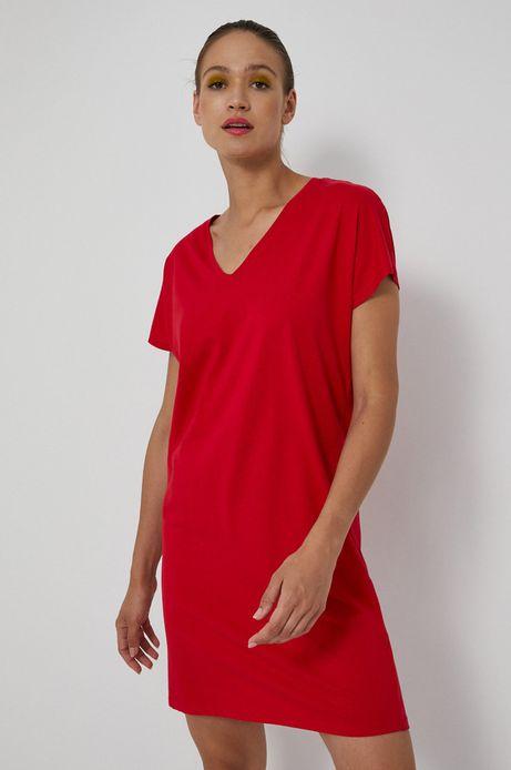 Długi t-shirt damski z dekoltem V czerwony