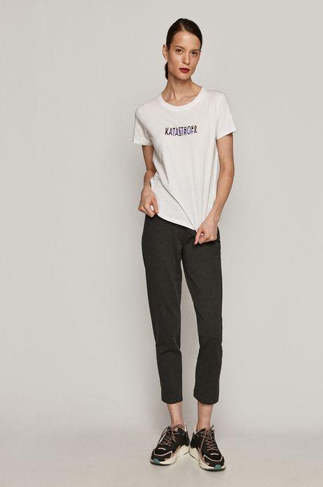 T-shirt damski z bawełny organicznej z napisem KATASTROFA biały