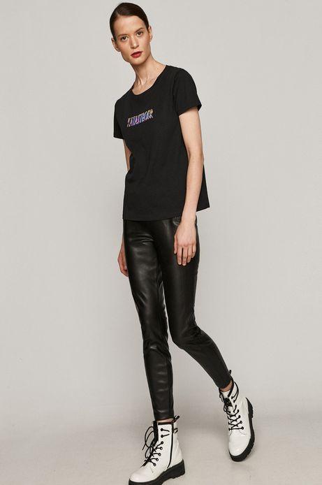 T-shirt damski z bawełny organicznej z napisem KATASTROFA czarny