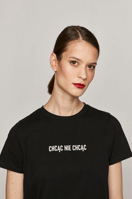 T-shirt damski z bawełny organicznej z nadrukiem CHCĄC NIE CHCĄC czarny