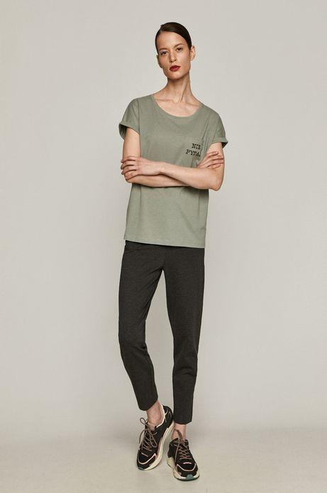 T-shirt damski z bawełny organicznej z nadrukiem NIE PYTAJ zielony