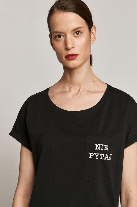 T-shirt damski z bawełny organicznej NIE PYTAJ czarny