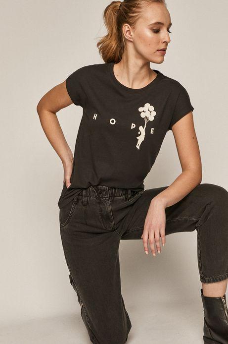 T-shirt damski Banksy's Graffiti czarny