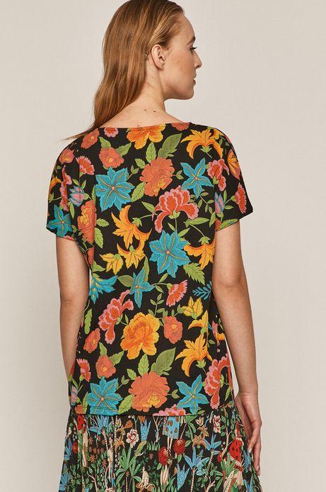 T-shirt damski wzorzysty czarny