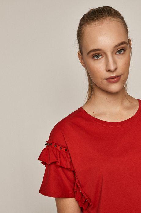 T-shirt damski z bawełny organicznej czerwony