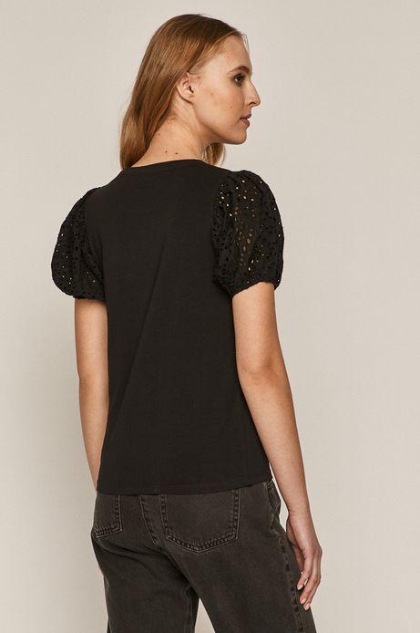 T-shirt damski z ażurowymi rękawami czarny