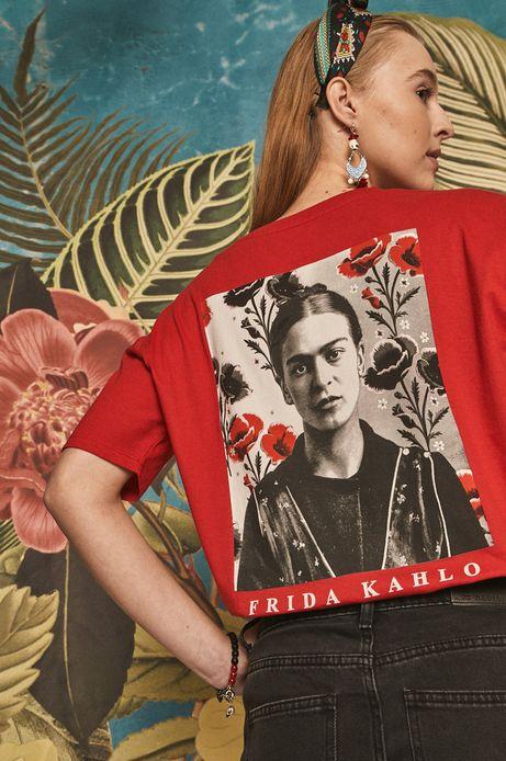 T-shirt damski Frida Kahlo czerwony