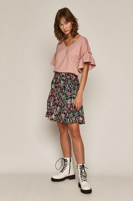T-shirt damski z falbankami z bawełny organicznej różowy