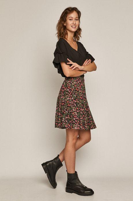 T-shirt damski z falbankami z bawełny organicznej czarny