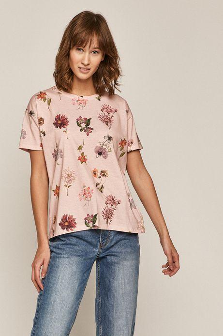Bawełniany t-shirt damski w kwiaty różowy