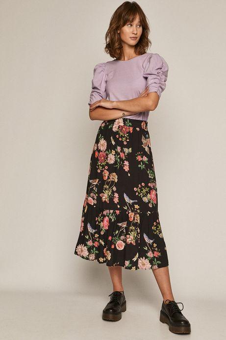 T-shirt damski z marszczeniami na rękawach fioletowy