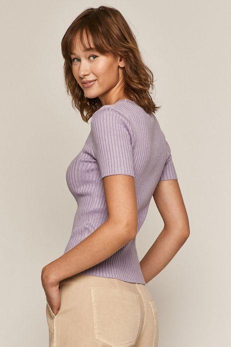 T-shirt damski z prążkowanej dzianiny fioletowy