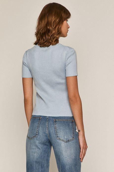 T-shirt damski z prążkowanej dzianiny niebieski