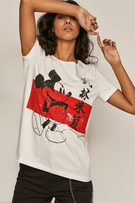 T-shirt damski z nadrukiem Mickey Mouse biały