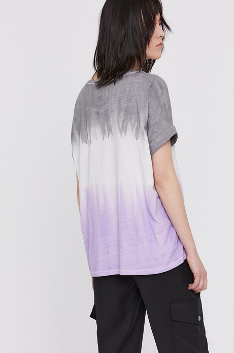 Bawełniany t-shirt damski z nadrukiem fioletowy