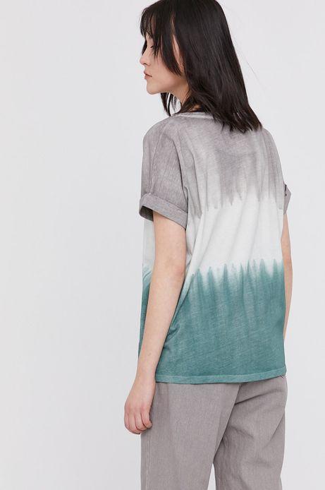 Bawełniany t-shirt damski z nadrukiem zielony