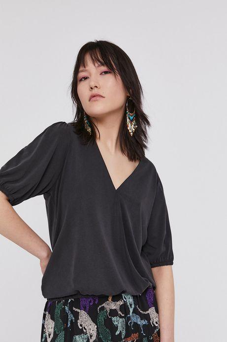 T-shirt damski z kopertowym dekoltem czarny