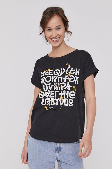T-shirt damski z bawełny organicznej by Bartek Bojarczuk szary