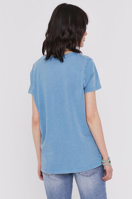 T-shirt damski z nadrukiem Led Zeppelin niebieski