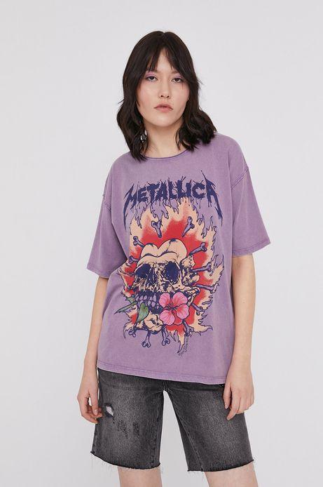 T-shirt damski z nadrukiem Metallica fioletowy