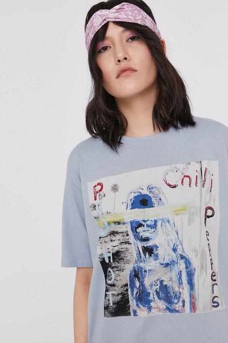 T-shirt damski z nadrukiem Red Hot Chili Peppers niebieski