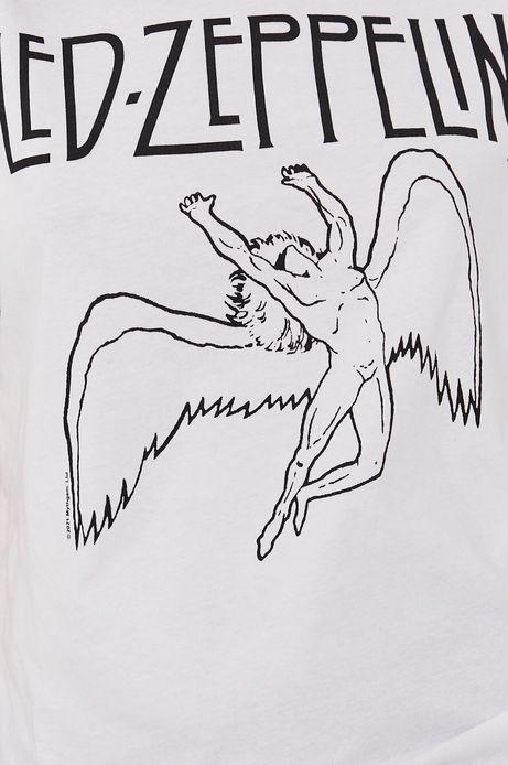 T-shirt damski z nadrukiem Led Zeppelin biały