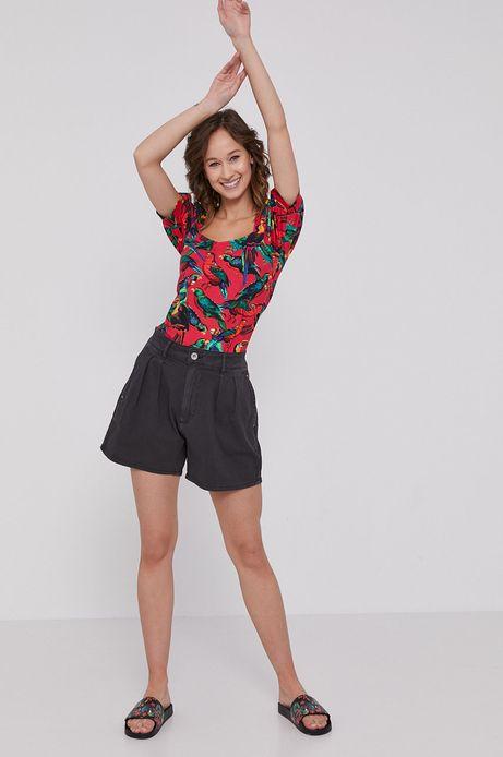 T-shirt damski z bufiastymi rękawami czerwony