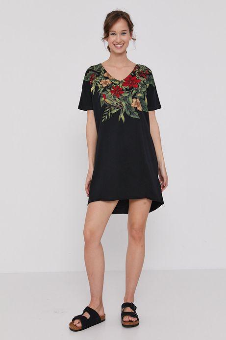 Długi t-shirt damski z dekoltem V czarny